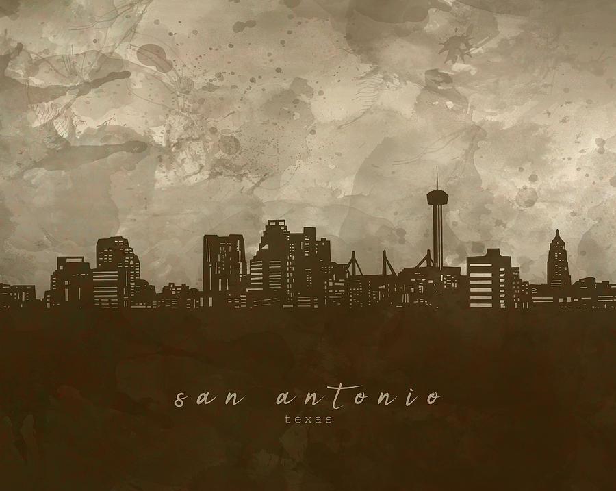 San Antonio Skyline Panorama 4 Digital Art