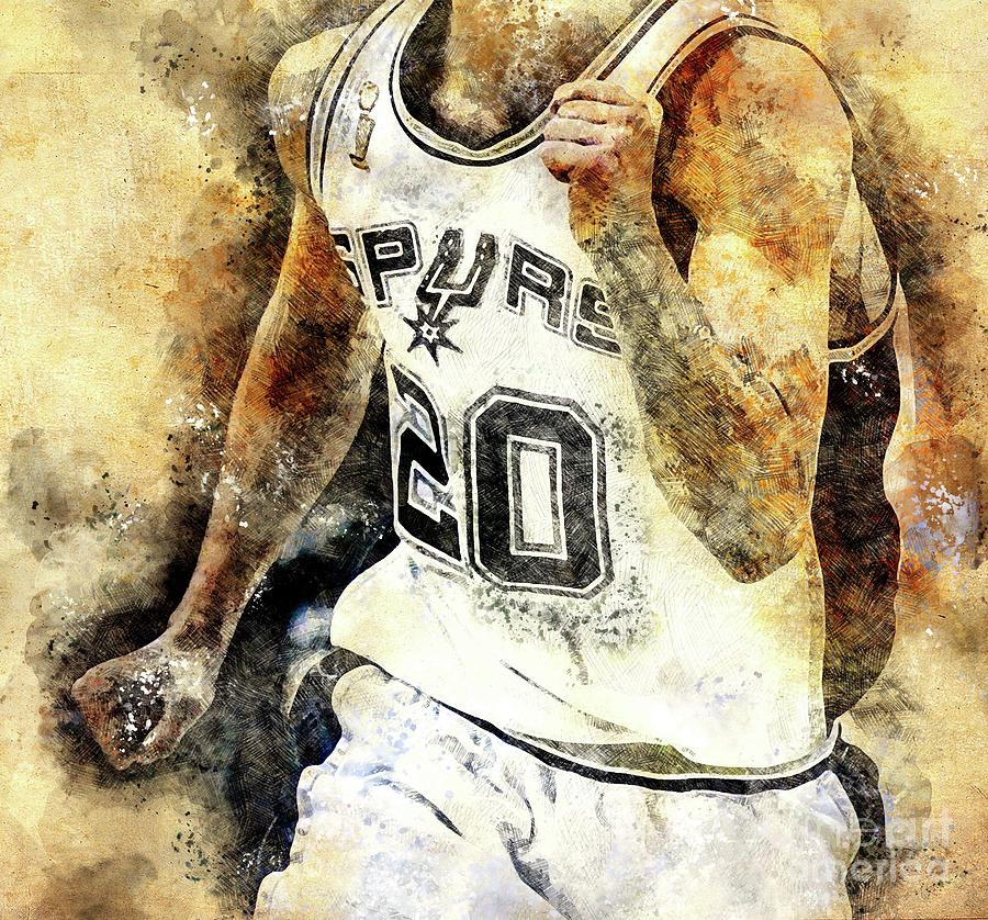 San Antonio Spurs Basketball Nba Team, Basketball Player, Sports Posters For Fans Drawing