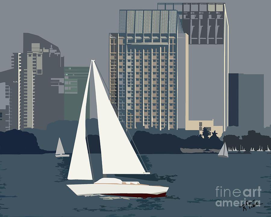 San Diego Digital Art - San Diego Bay Sailing by Kirt Tisdale