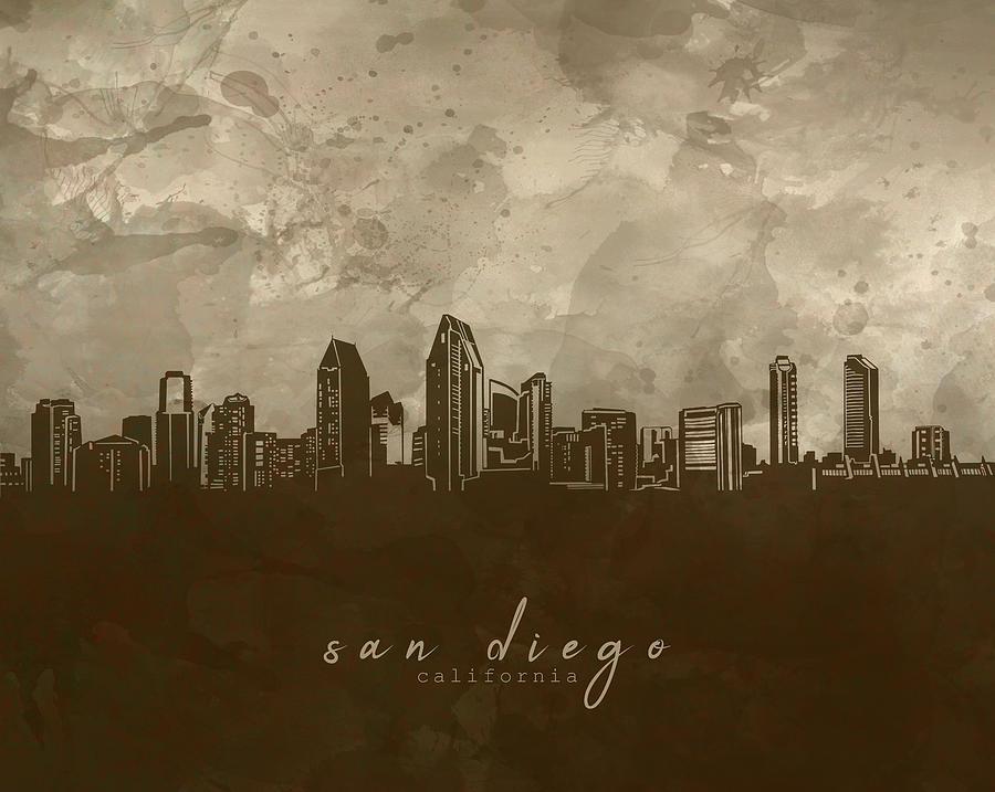 San Diego Skyline Panorama 4 Digital Art