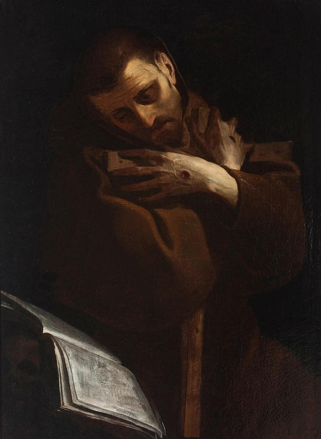 Giovanni Battista Crespi Painting - San Francesco D Assisi Abbraccia Cristo Crocifisso  by Giovanni Battista Crespi