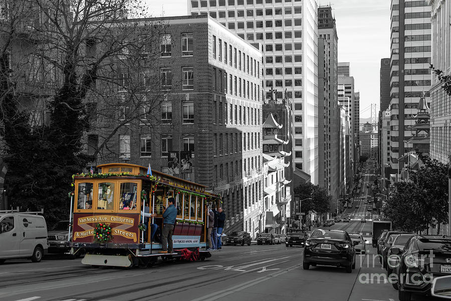 San Francisco Cable Car Climbing The Hills of California Street R1683 bwc by San Francisco