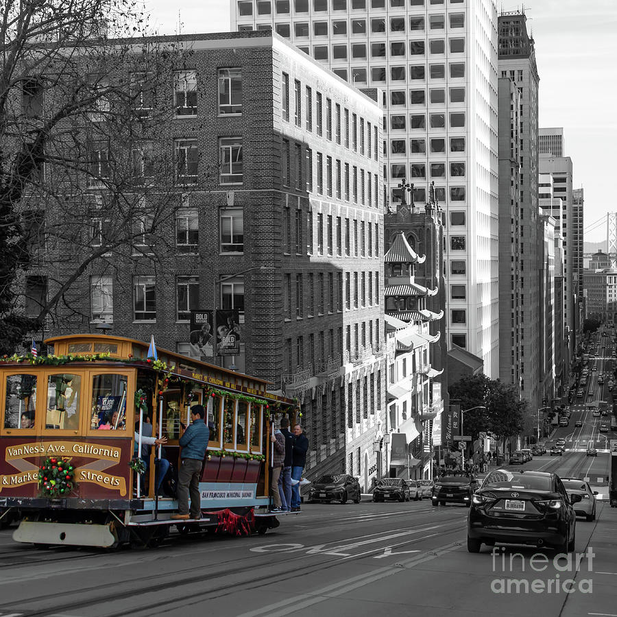 San Francisco Cable Car Climbing The Hills of California Street R1683 bwc square by San Francisco