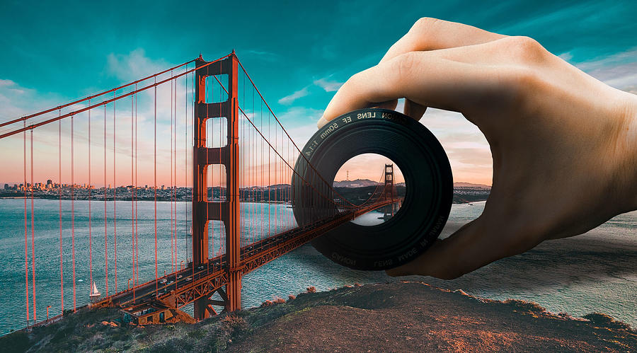 San Francisco Golden Gate Bridge And Camera Lens Surreal Digital Art