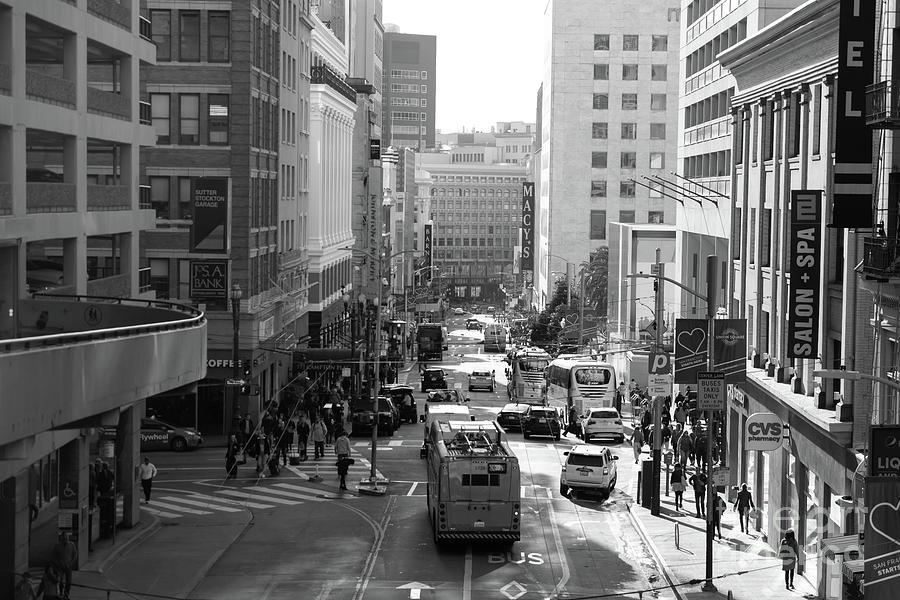 San Francisco Stockton Street From Atop The Stockton Street Tunnel R1675 BW by San Francisco