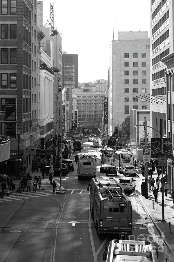San Francisco Stockton Street From Atop The Stockton Street Tunnel R1676 BW by San Francisco