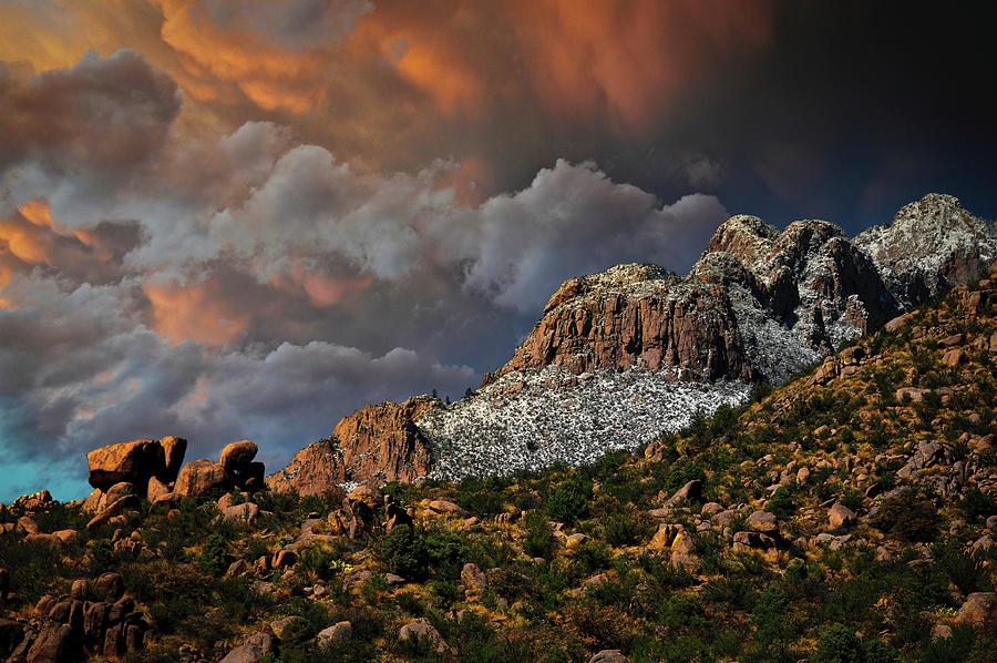 Sandias Photograph - Sandia Mountain Light Show by Zayne Diamond Photographic