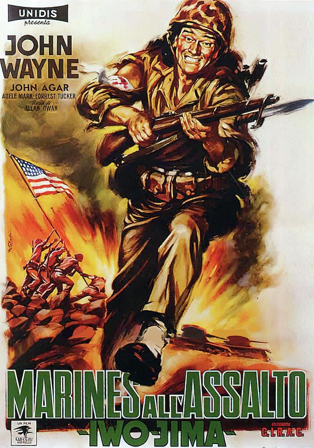 Sands Mixed Media - Sands of Iwo Jima, with John Wayne, 1950 by Stars on Art