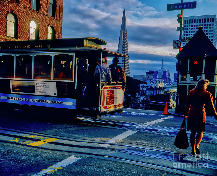 San Francisco Powell Street Hyde St  Cable car line Transamerica Bldg  by Tom Jelen