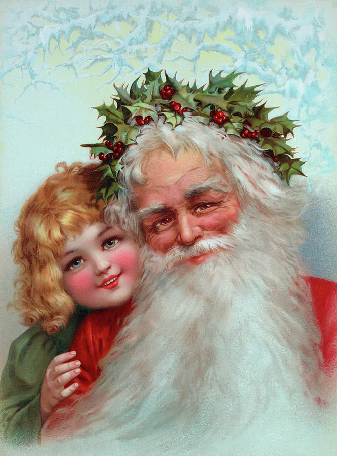 Father Christmas Painting - Santa Claus, 1898 by Vintage Poster