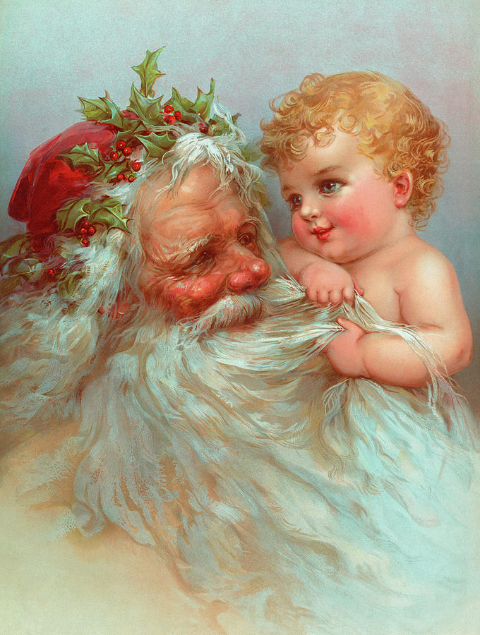 Father Christmas Painting - Santa Claus by Vintage Poster