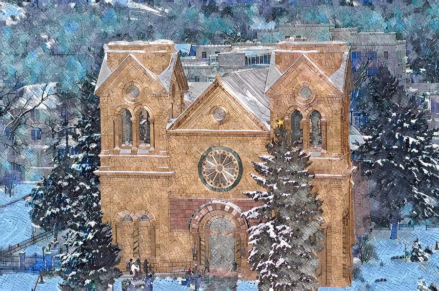 Church Digital Art - Santa Fe Cathedral in Snow by Aerial Santa Fe