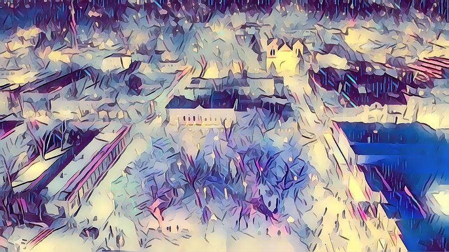 Southwest Digital Art - Santa Fe Christmas Lights by Aerial Santa Fe