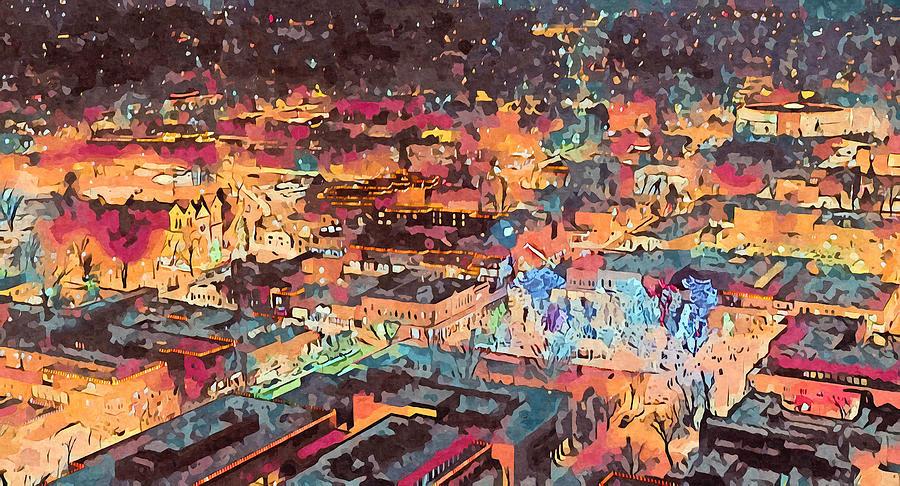 Southwest Digital Art - Santa Fe Farolitos by Aerial Santa Fe