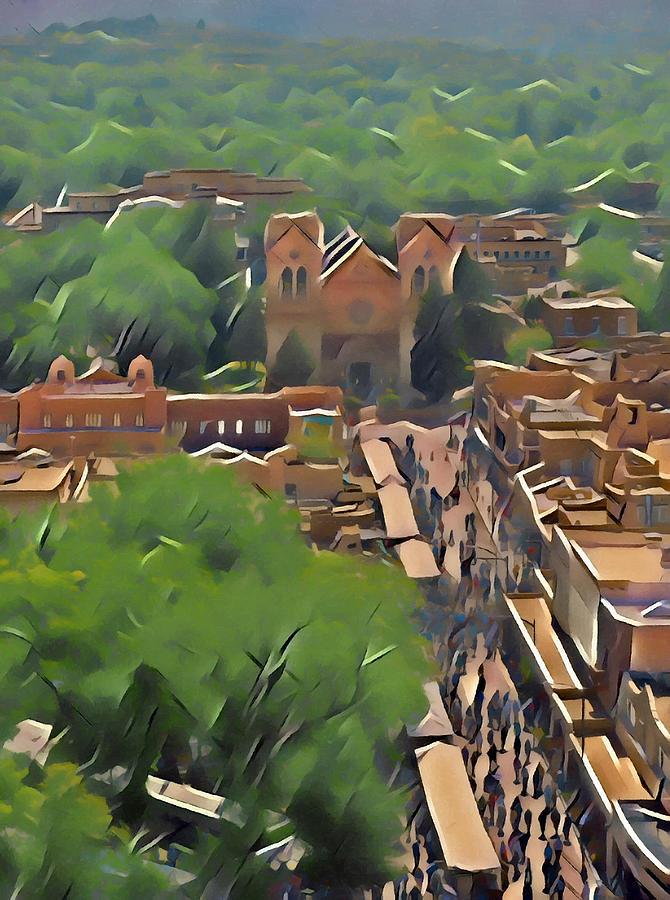 Southwest Digital Art - Santa Fe Indian Market by Aerial Santa Fe