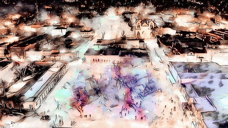 Southwest Digital Art - Santa Fe Plaza Lights by Aerial Santa Fe