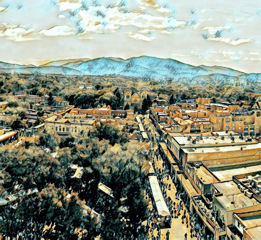 Southwest Digital Art - Santa Fe Plaza Market by Aerial Santa Fe