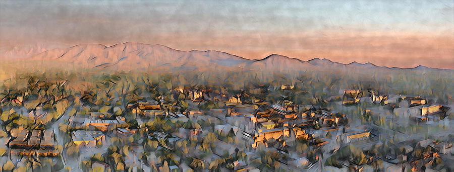 Southwest Photograph - Santa Fe Sunset Panorama by Aerial Santa Fe
