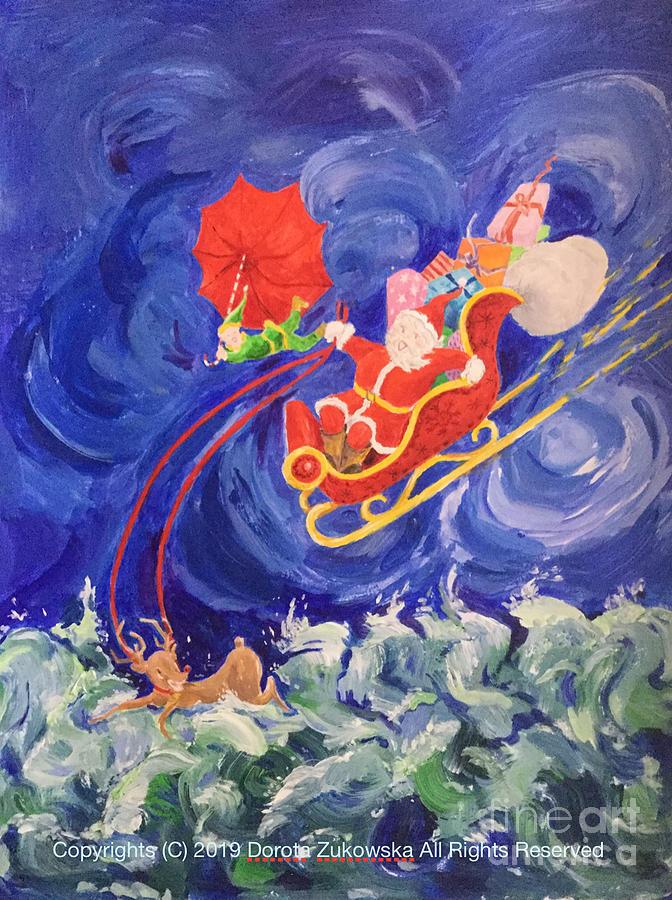 Santa In Rain Painting