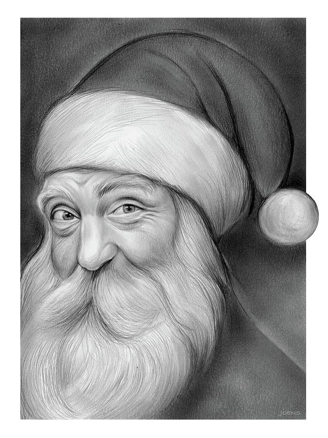 Pere Noel Drawing - Santa - Pencil by Greg Joens