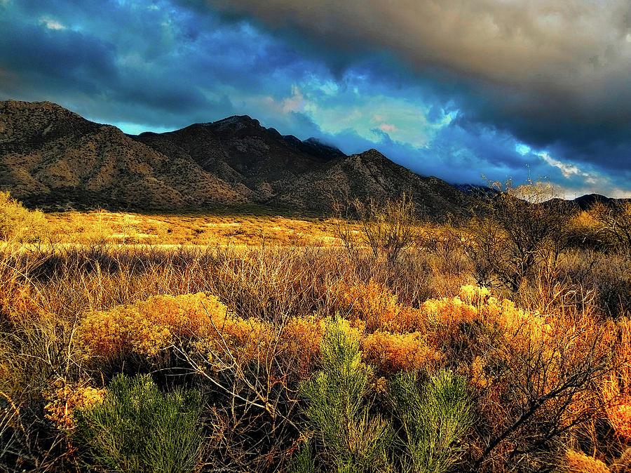 Santa Rita Mountains Sunlight by Chance Kafka