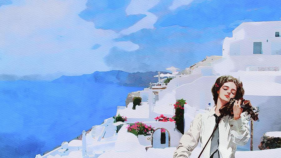 Santorini Views With Violin Music Painting