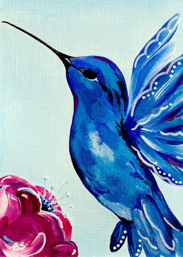 Bird Painting - Sapphire Hummingbird by Beth Ann Scott