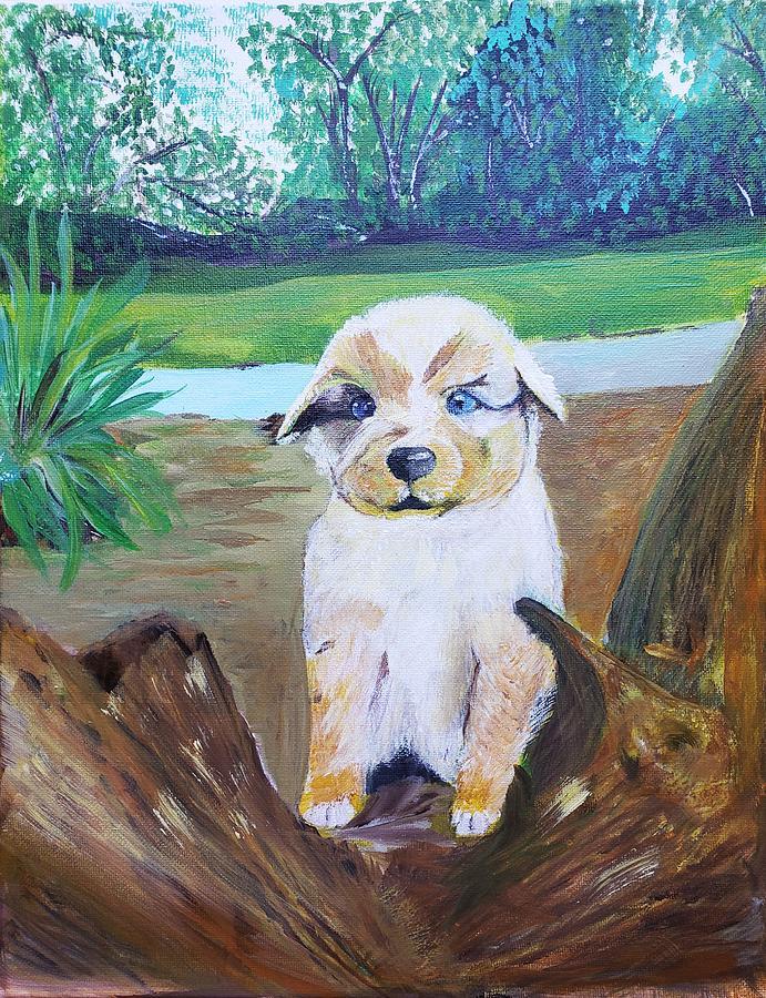 Puppy Painting - Sapphire by Raddiah Alhobaishi