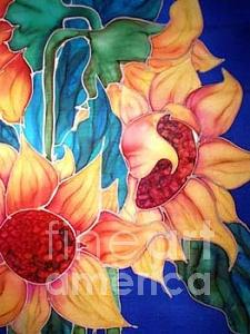 Silks Painting - Sassy Sunflowers by Francine Dufour Jones