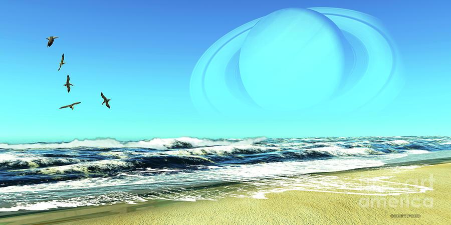 Saturn Seascape Digital Art