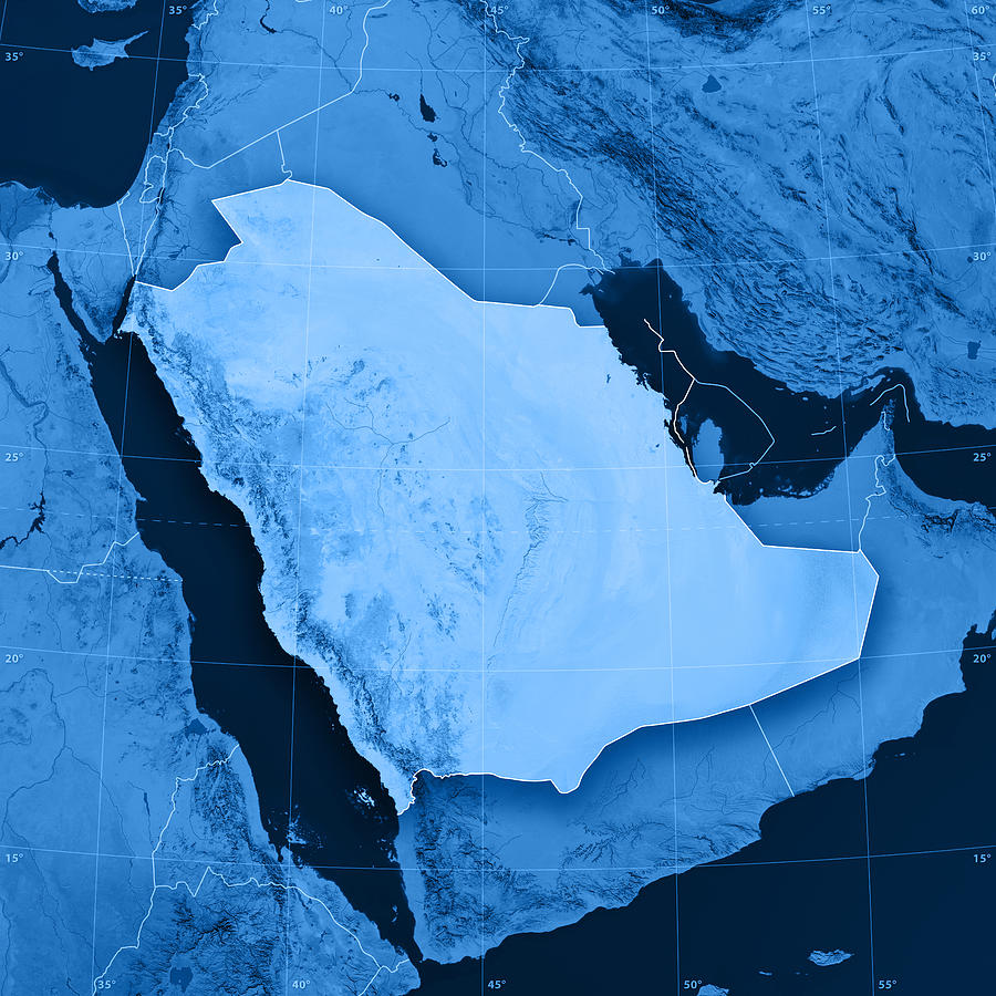 Saudi Arabia Topographic Map Photograph by FrankRamspott