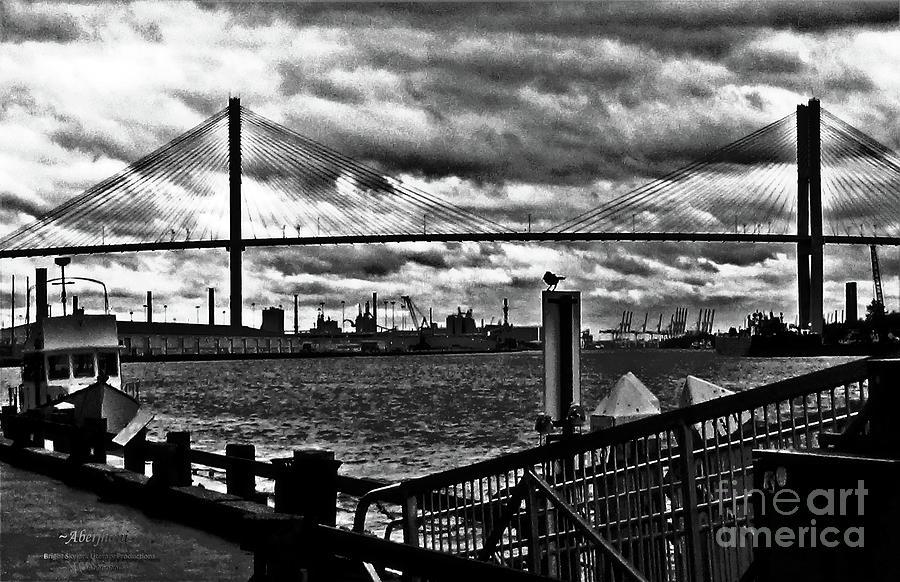 Eugene Talmadge Photograph - Savannah River Bridge the Morning after Hurricane Matthew No. 2 by Aberjhani