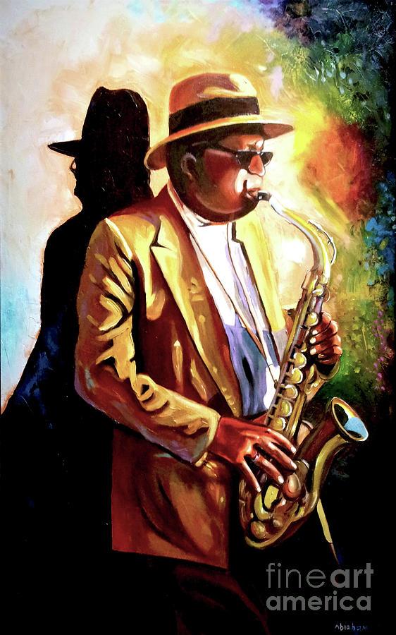 Sax Painting - Sax Player by Jose Manuel Abraham