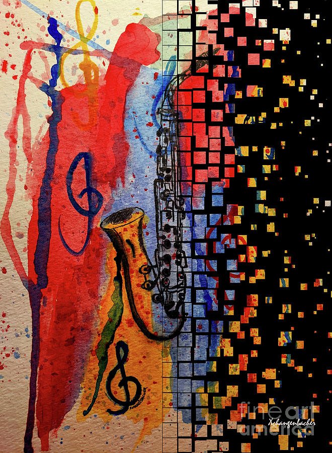 Saxophone Escaping Mixed Media