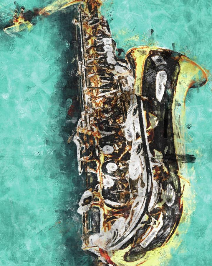 Saxophone On Turquoise by Flo Karp
