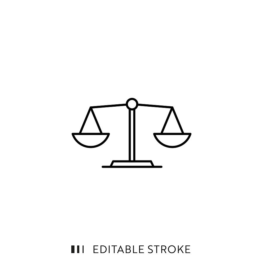 Scale Icon with Editable Stroke and Pixel Perfect. Drawing by Esra Sen Kula