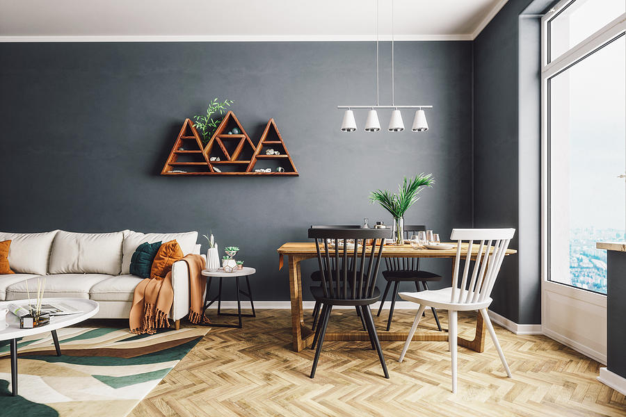 Scandinavian Style Living And Dining Room Photograph by Imaginima