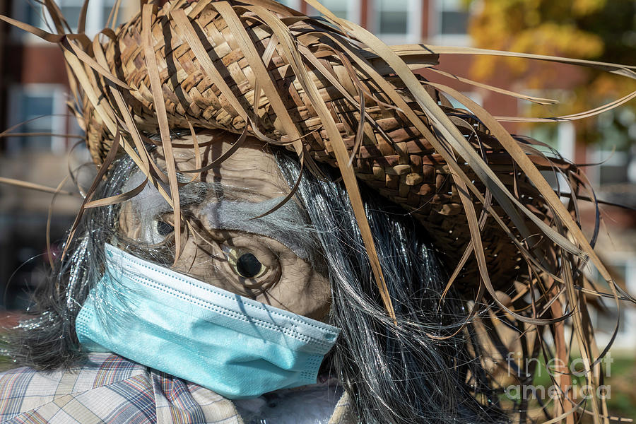 Scarecrow Wearing Mask Photograph