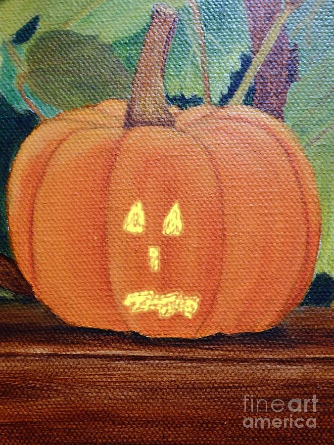 Scared Pumpkin Halloween 2020 Canvas Painting Photograph