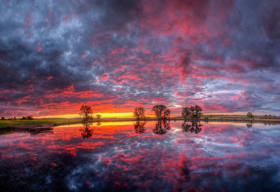 Scarlet Fishing Hole Sunrise by Fiskr Larsen