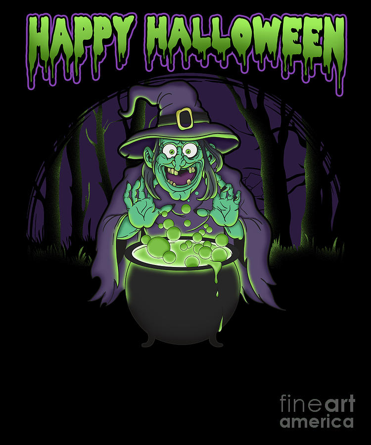 Scary Witch Happy Halloween Cauldron Potion Digital Art By The Perfect Presents