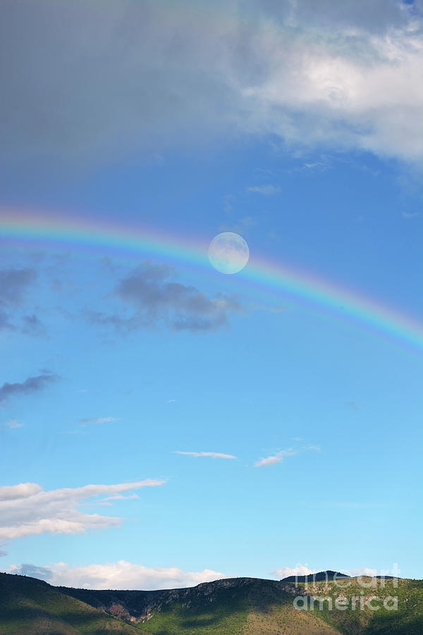 Scenery After Rain With A Rainbow And Full Moon Photograph