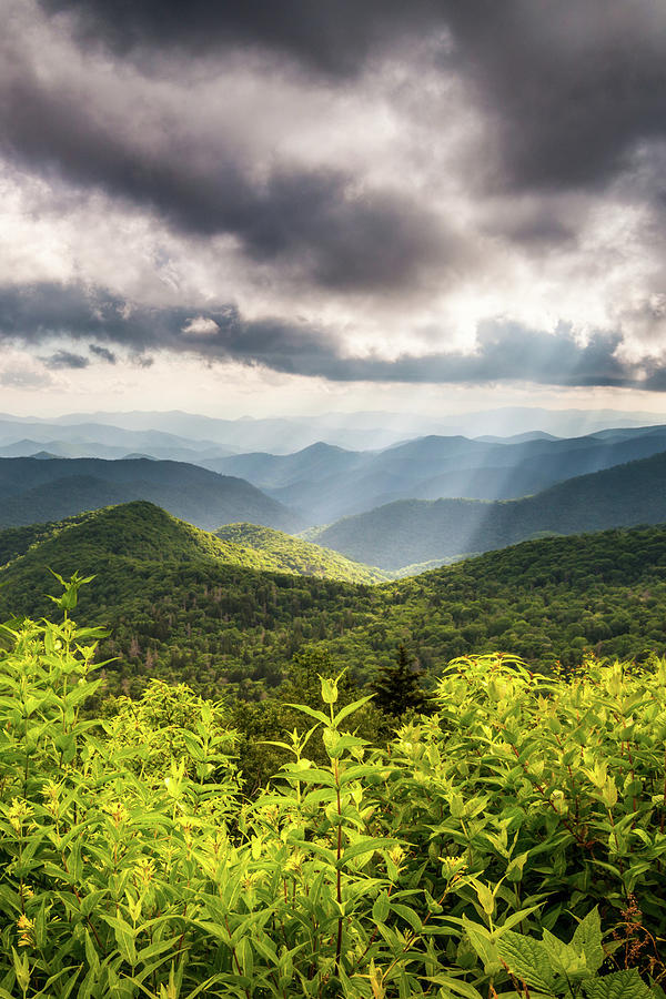 Scenic Mountain Landscape Photography Appalachian Mountains Blue Ridge Parkway Nc Summer Sun Rays Photograph
