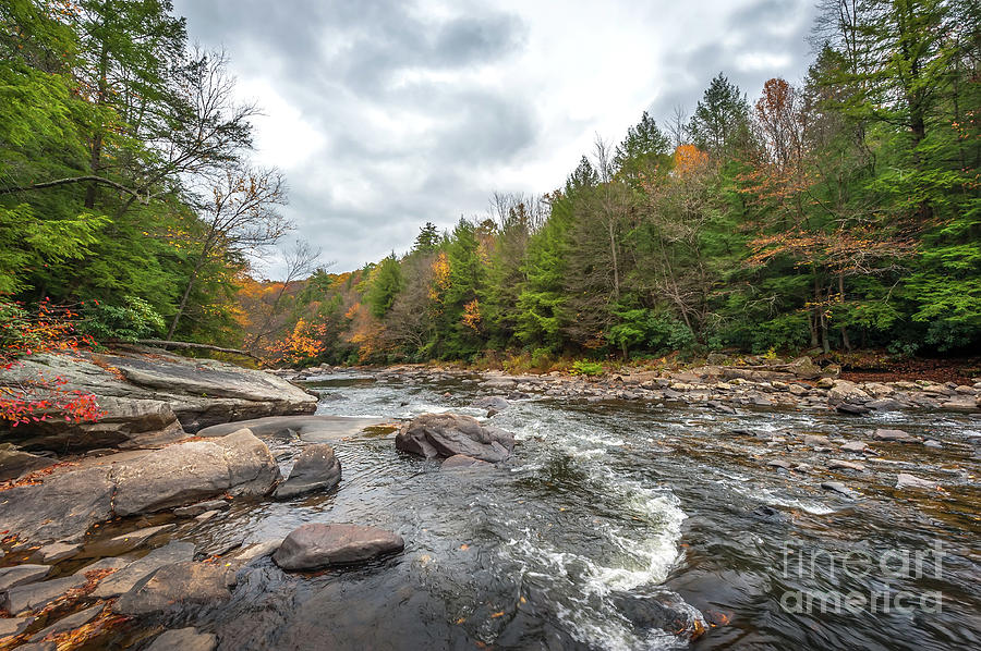 Scenic River with Rapids in the Appalachian Mountains during Autumn by Patrick Wolf