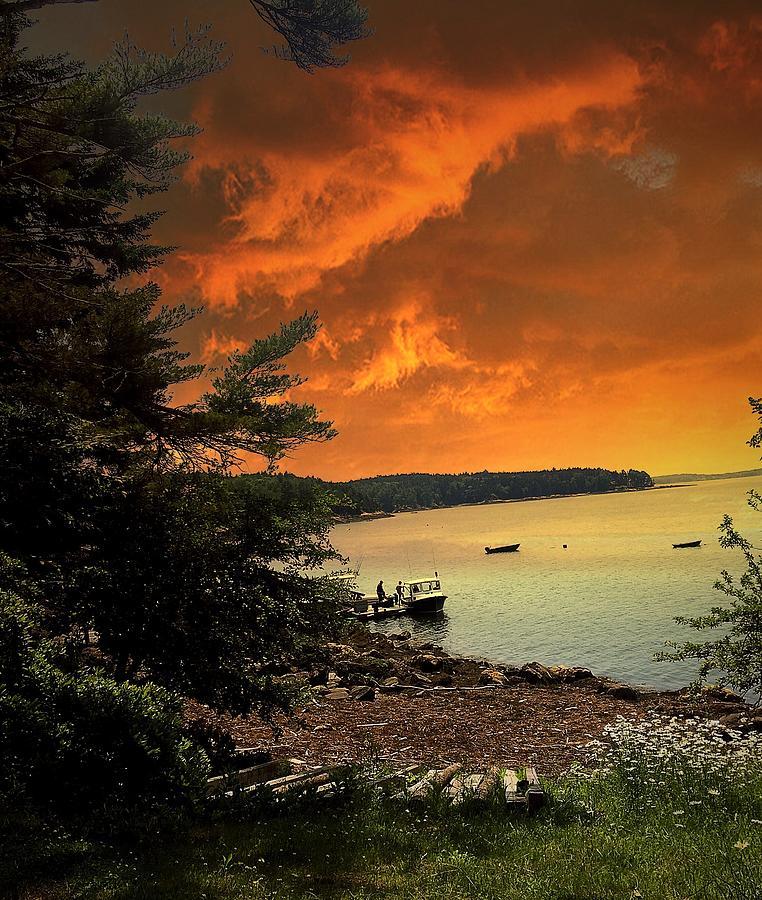 Scenic View Of Sea Against Orange Cloudy Sky Photograph by Carol Sharkey / EyeEm