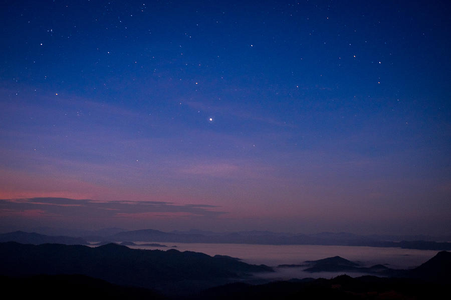 Scenic View Of Silhouette Mountains Against Sky At Night Photograph by Wuttichai Sripodok / EyeEm