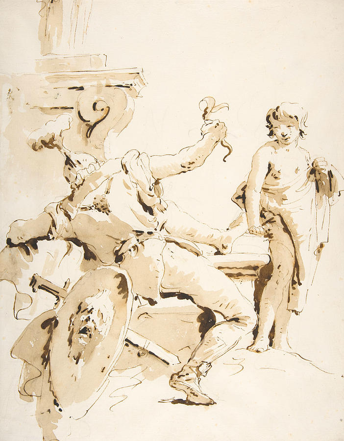Italian Painters Drawing - Scherzo Di Fantasia - Seated Warrior Holding A Serpent, And Standing Youth by Giovanni Battista Tiepolo