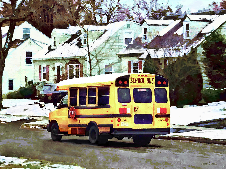 School Bus Driving Home in Winter by Susan Savad