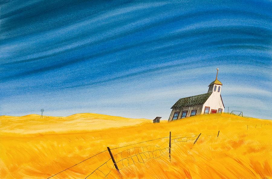 Wheat Field Painting - School In The Tallgrass by Scott Kirby