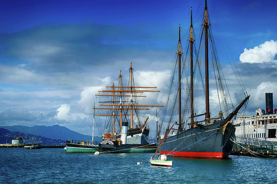 Schooner C. A. Thayer and square rigged ship Balcutha by Steve Estvanik